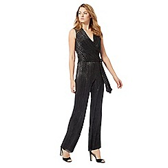 The Collection - Black plisse plunging jumpsuit