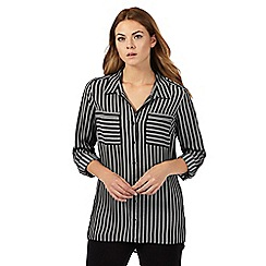 The Collection - Black broken striped print shirt