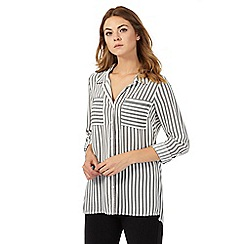 The Collection - Ivory broken striped print shirt