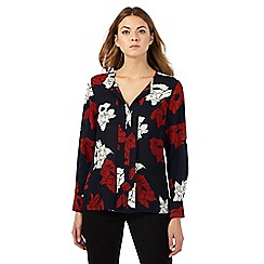 The Collection - Navy floral print placket top