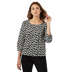 The Collection Petite - Black daisy print bubble hem top