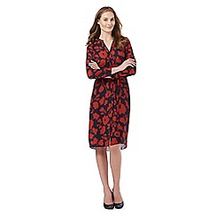 The Collection - Red and navy floral print shirt dress