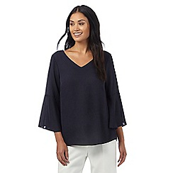 The Collection - Navy ruffle bell sleeve top