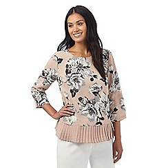 The Collection - Pink floral print pleated hem top
