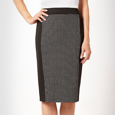 The Collection - Black spotted panelled pencil skirt