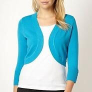 Bright turquoise three quarter sleeve shrug