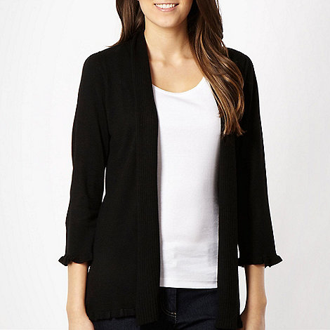 The Collection - Black ribbed collar cardigan