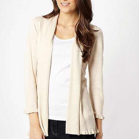 The Collection - Natural ribbed collar cardigan