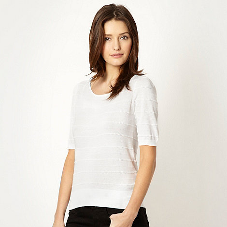The Collection - White textured striped knit top