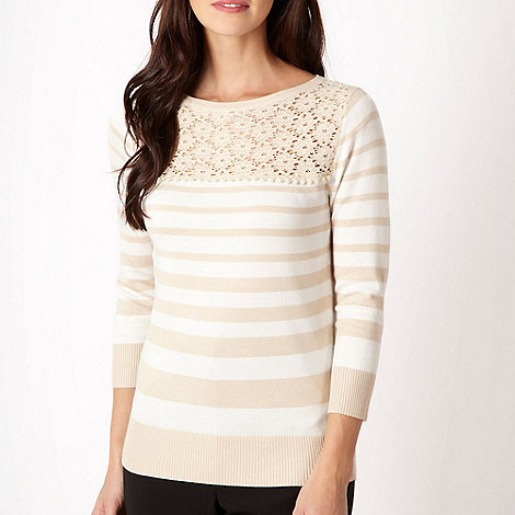 The Collection - Natural striped lace panelled jumper - size 20