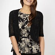 Petite black cord knitted shrug