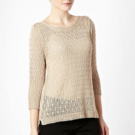 The Collection - Natural cord knitted slash neck jumper