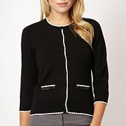 Petite black stitched bow cardigan
