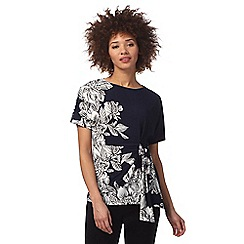 The Collection - Navy floral print gathered top