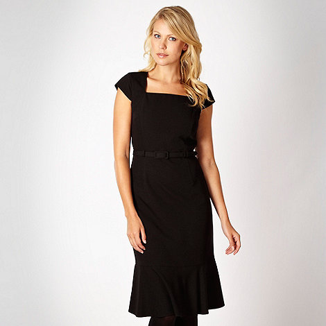 The Collection - Black mid length belted twill dress