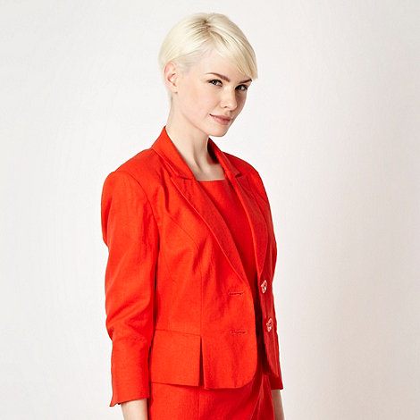 The Collection - Bright orange linen blend suit jacket