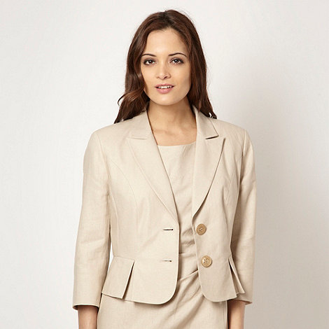 The Collection - Cream linen blend bow back jacket