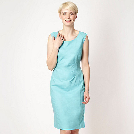 The Collection - Aqua linen blend work dress