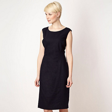 The Collection - Navy linen blend work dress
