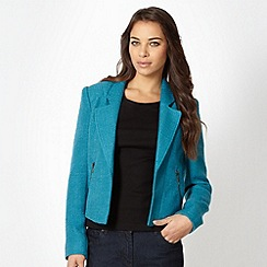 The Collection - Turquoise boucle biker jacket
