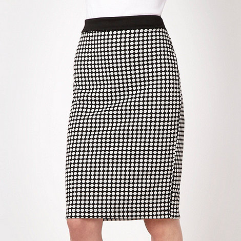 The Collection - Black spotted ponte pencil skirt