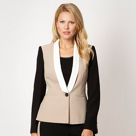 The Collection - Natural colour block crepe jacket