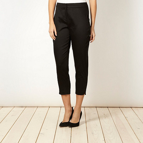 The Collection - Black cotton sateen cropped trousers