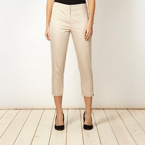 The Collection - Natural cotton sateen cropped trousers