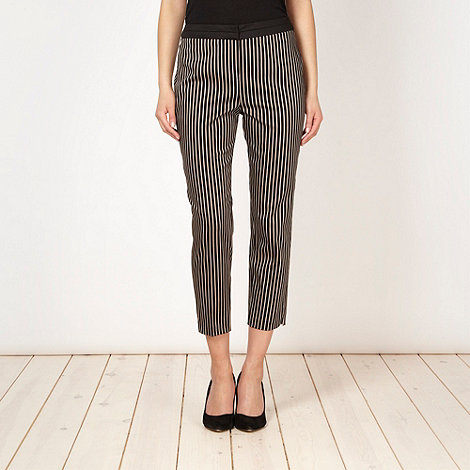 The Collection - Natural striped cropped trousers