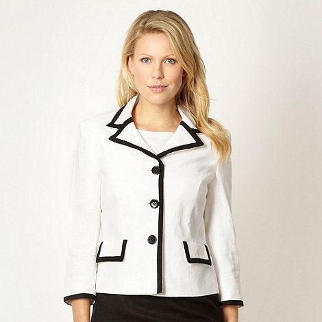 The Collection - White linen blend tipped jacket