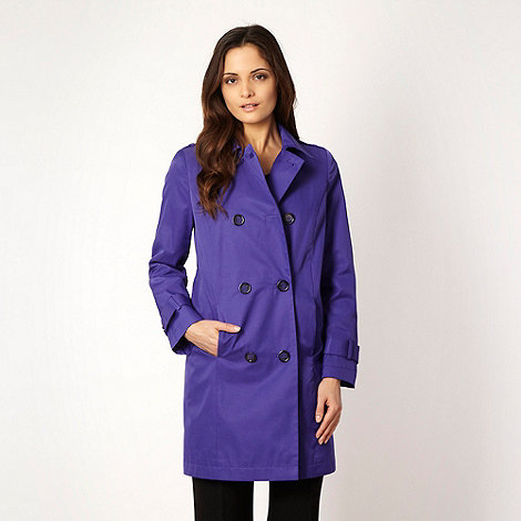 The Collection - Dark purple mock double breasted mac coat - size 10
