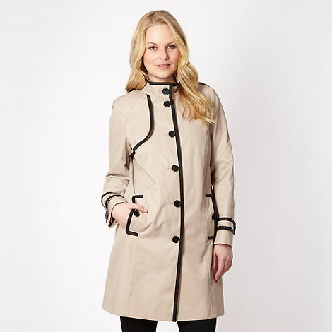 The Collection - Beige tipped funnel neck mac coat - size 20