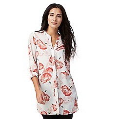 The Collection - Ivory floral print longline shirt