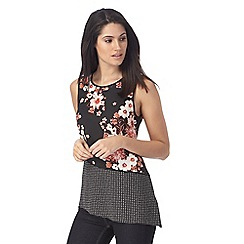 The Collection - Black floral print spotted top
