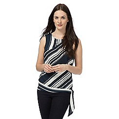 The Collection - Navy striped print side knot top