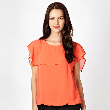 The Collection - Dark orange cape sleeve shell top