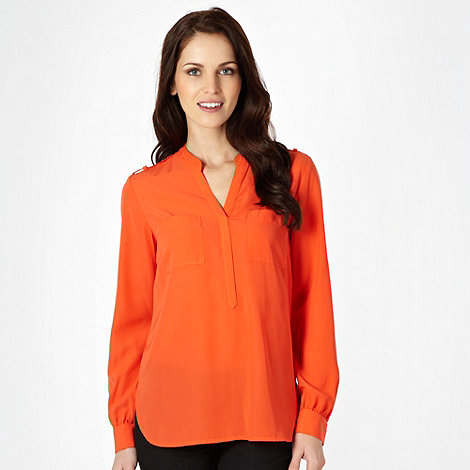 The Collection - Dark orange dipped hem shirt