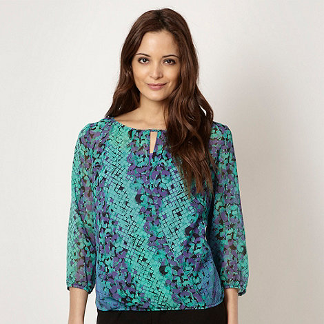 The Collection - Aqua floral and snake printed top