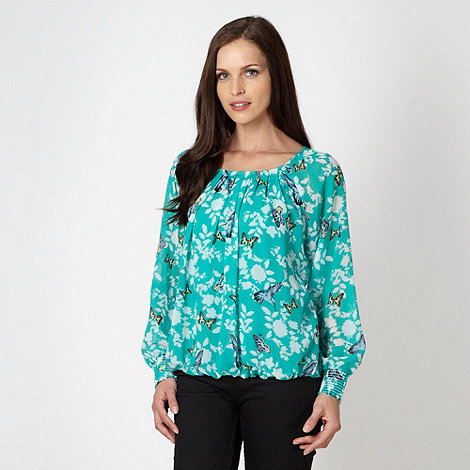 The Collection - Turquoise bird and butterfly patterned gypsy top