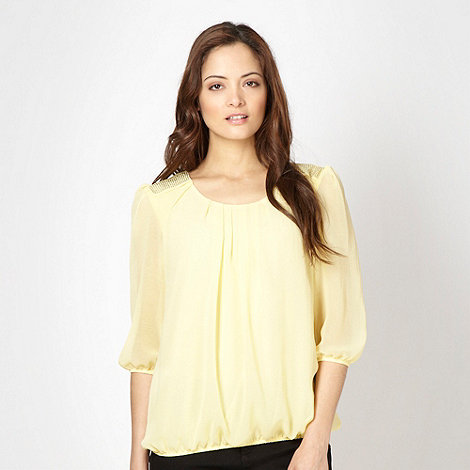The Collection Petite - Petite yellow chiffon studded shoulder top