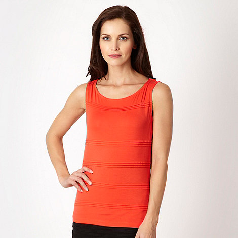 The Collection - Dark orange pleated jersey top
