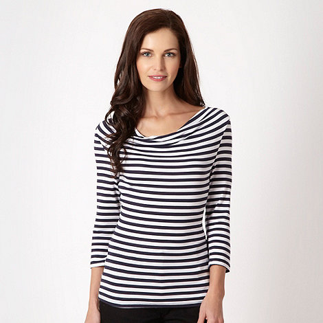The Collection - Navy striped cowl neck jersey top