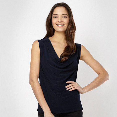 The Collection - Designer navy satin back cowl neck top