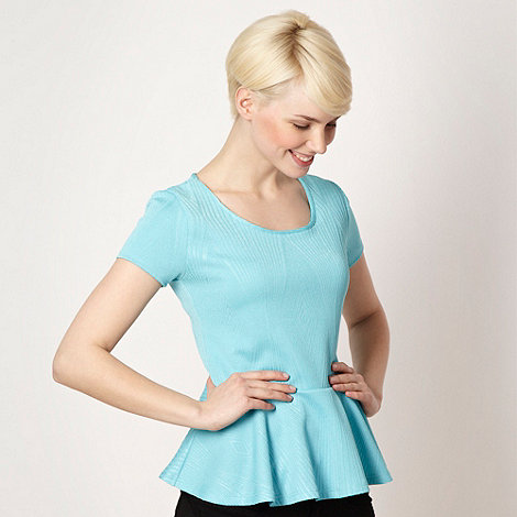 The Collection - Aqua textured peplum top