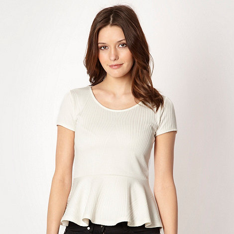 The Collection - Cream textured peplum top