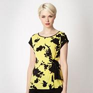Petite yellow shadow flower jersey top