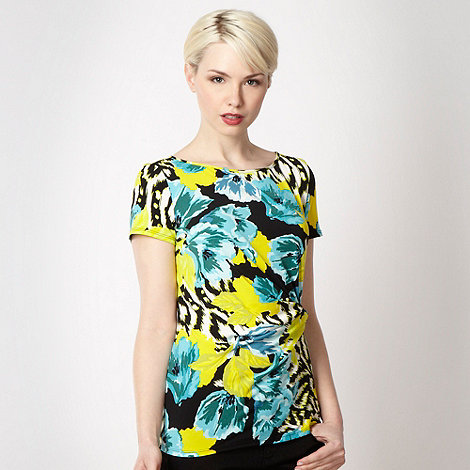 The Collection - Aqua floral twist front top