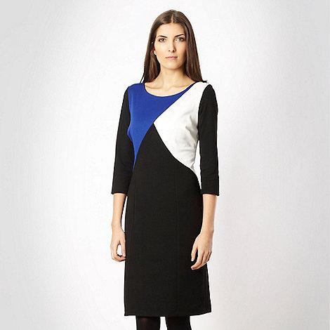 The Collection - Black diagonal colour block ponte dress
