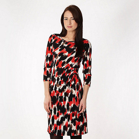 The Collection - Orange brushstroke printed jersey dress