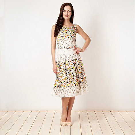 The Collection Petite - Petite white coloured spot dress - size 8P